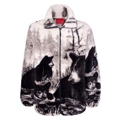 Adult Fleece Jackets Microplush Jacquard Full Length